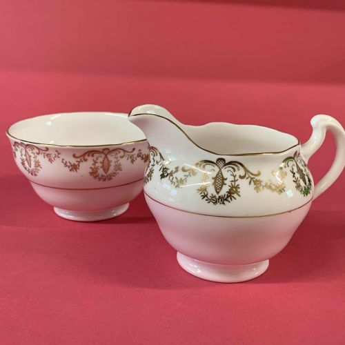Royal Vale | Pink and Gold | Jug Creamer and Open Sugar | 40s 50s